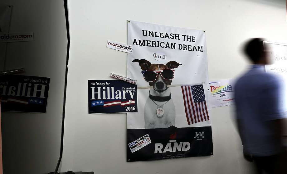 "Political signs at the offices of Hilton's tech firm Crowdpac. Hilton, as host of ""The Next Revolution,"" could grasp what is most elusive in political chat these days: the middle ground. Photo: Michael Macor, The Chronicle"