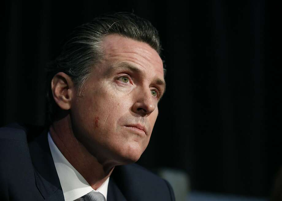 Lt. Gov. Gavin Newsom, a candidate for California governor, listens to a question during a gubernatorial candidates forum, Tuesday, April 4, 2017, in Sacramento, Calif. Newsom along with fellow Democratic gubernatorial candidates, state Treasurer John Chiang and former Los Angeles Mayor Antonio Villaraigosa addressed attendees at a conference held by Crime Survivors For Safety and Justice. (AP Photo/Rich Pedroncelli) Photo: Rich Pedroncelli, Associated Press