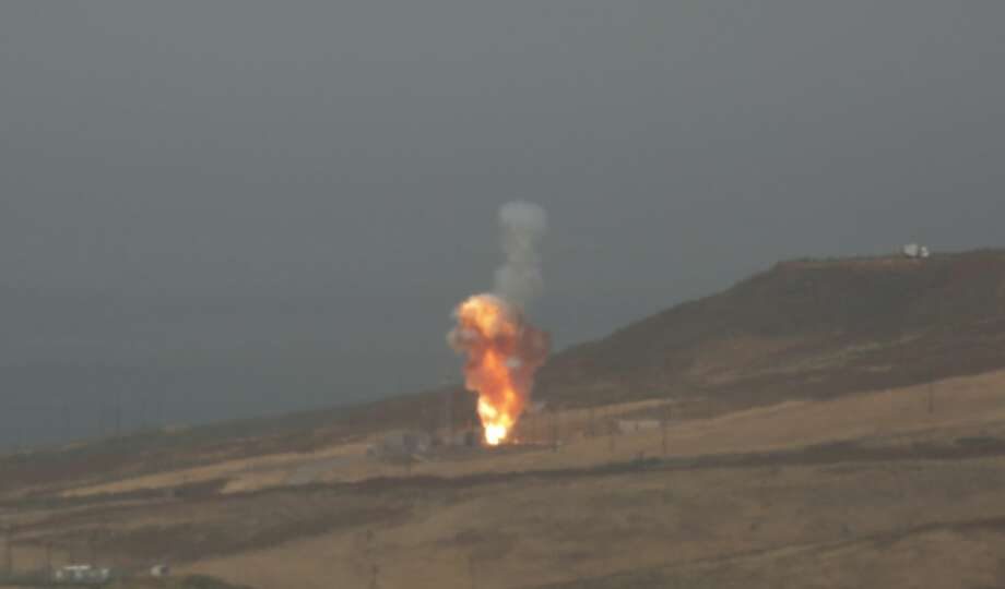 A ground-based interceptor rocket is launched on May 30, 2017 from Vandenberg Air Force Base, California. The rocket from Vandenberg successfully intercepted and destroyed a target missile in space - most likely above waters east of Hawaii that have been temporarily closed to all shipping. (Photo by Al Seib/Los Angeles Times via Getty Images) Photo: Al Seib/LA Times Via Getty Images