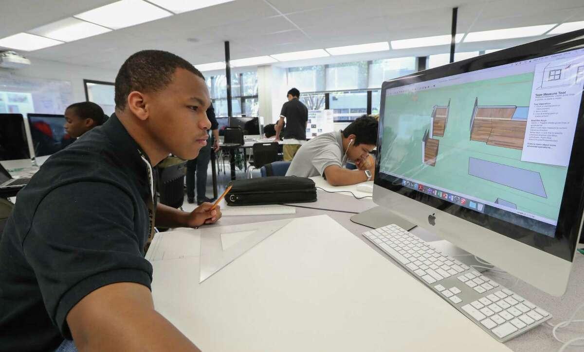 Jones Futures Academy student Chris Coleman Jr., works an architecture project Monday, April 24, 2017, in Houston. ( Steve Gonzales / Houston Chronicle )