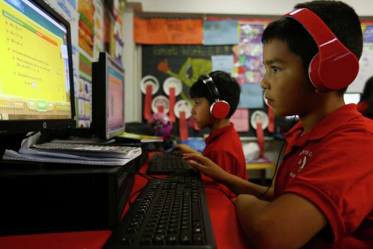 Rick Macias, 9, works on a STAAR test prep exercise at Cage Elementary School, Wednesday, April 26, 2017, in Houston. (Mark Mulligan / Houston Chronicle)