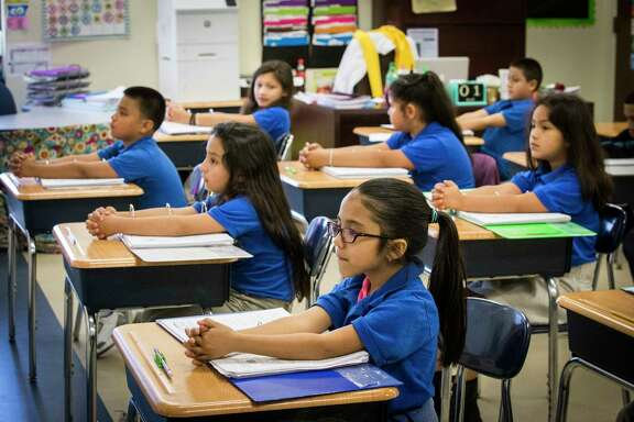 Houston Gateway Academy second grade students sit focus for their math lecture by their teacher Alejandra Sanchez, Monday, May 1, 2017, in Houston. ( Marie D. De Jesus / Houston Chronicle )