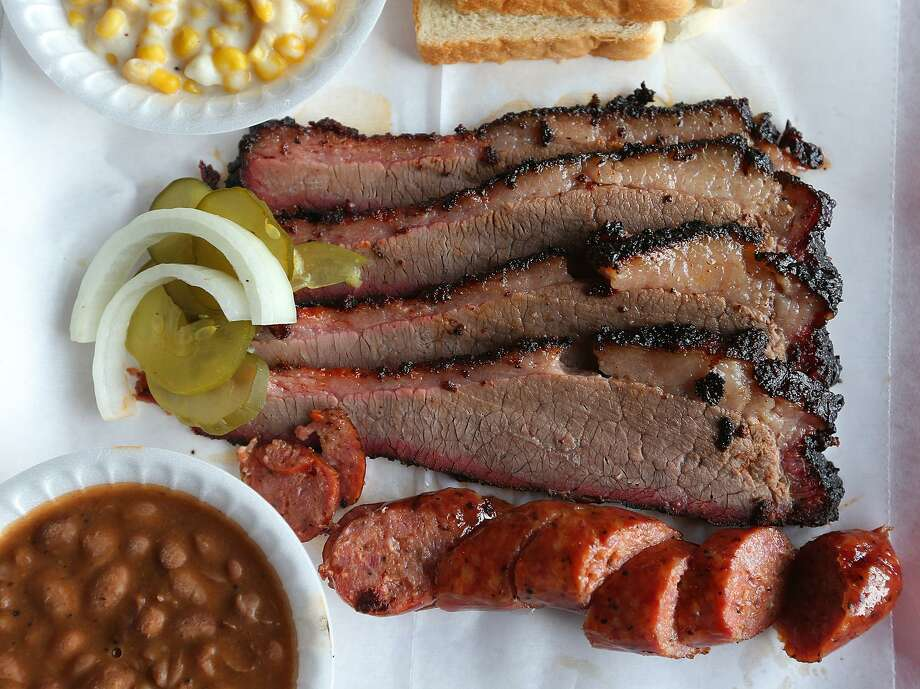 The two-meat plate with brisket and sausage at the Barbecue Station on N.E. Loop 410. Photo: Jerry Lara /San Antonio Express-News / © 2013 San Antonio Express-News