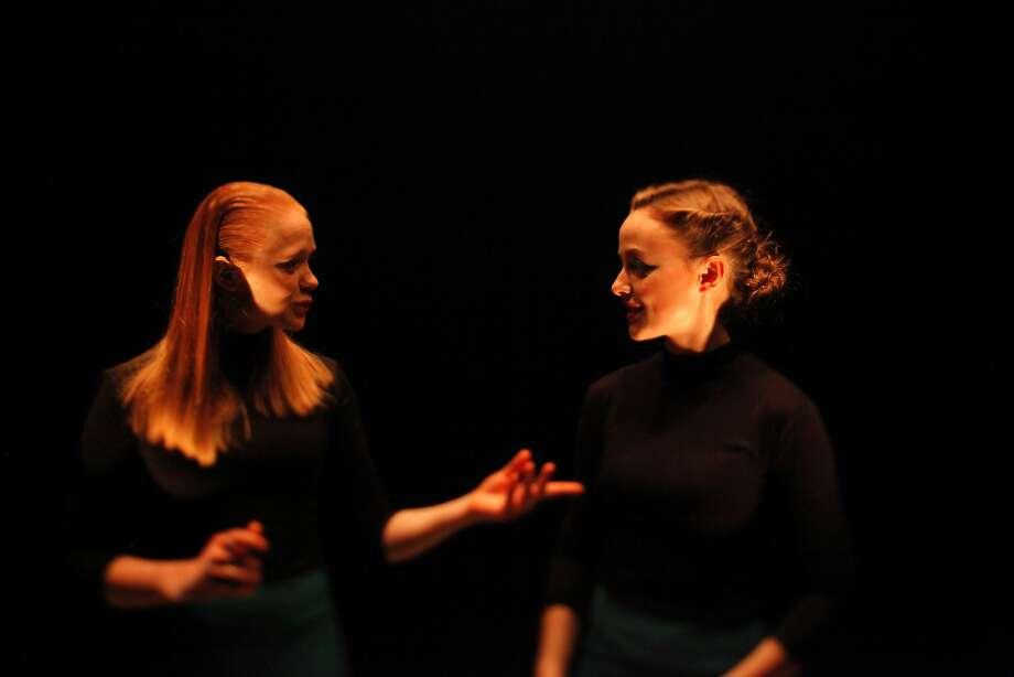 """Aleksandra Kuzenkina (left) and Anastasia Pronina in the Meyerhold Theatre Center's """"One Day We Will All Be Happy."""" Photo: Polina Kozlova, Meyerhold Theatre Center"""