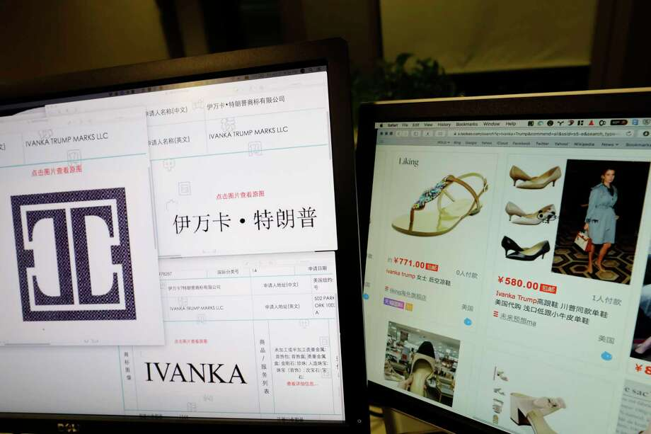 FILE - In this file photo taken Friday, April 21, 2017, Trademark applications from Ivanka Trump Marks LLC images taken off the website of China's trademark database are displayed next to a Chinese online shopping website selling purported Ivanka Trump branded footwear on computer screens in Beijing, China. Three men investigating a company in China that produces Ivanka Trump brand shoes are missing, according to Li Qiang who runs China Labor Watch, a New York-based labor rights group that was planning to publish a report in June, 2017, about low pay, excessive overtime and the possible misuse of student interns at one of the company's factories. (AP Photo/Ng Han Guan, File) Photo: Ng Han Guan, STF / Copyright 2017 The Associated Press. All rights reserved.