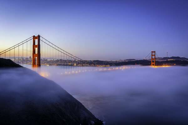 Golden Gate Bridge in fog, San Francisco, USA