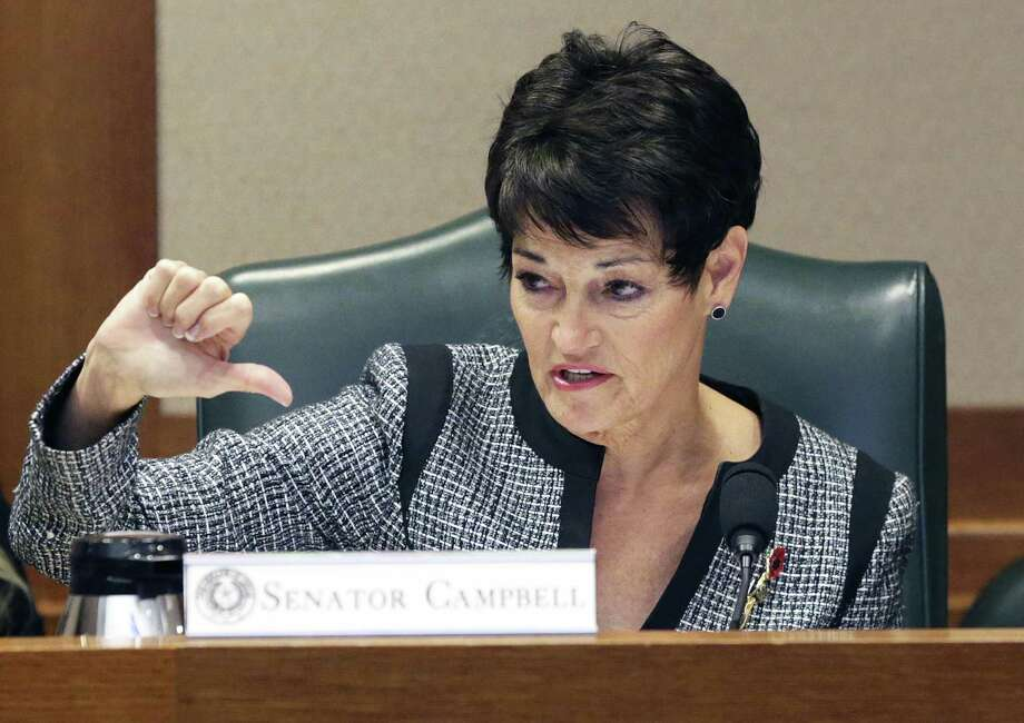 Senator Donna Campbell, R-New Braunfels,  motions as she describes how citizens should have the power to deny municipal expansion as she presents SB 715 to the Senate Intergovernmental Relations Committee at the Capitol on April 5, 2017. Photo: Tom Reel, Staff / San Antonio Express-News / 2017 SAN ANTONIO EXPRESS-NEWS