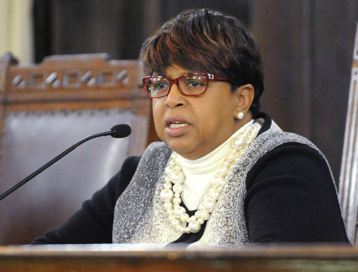 Albany City Council President Carolyn McLaughlin calls up people to speak as the public voice their opinion on the trash tax before the Albany Common Council at City Hall on Monday, March 21, 2016 in Albany, N.Y. There is to be a vote to repeal the Albany trash fee. (Lori Van Buren / Times Union)