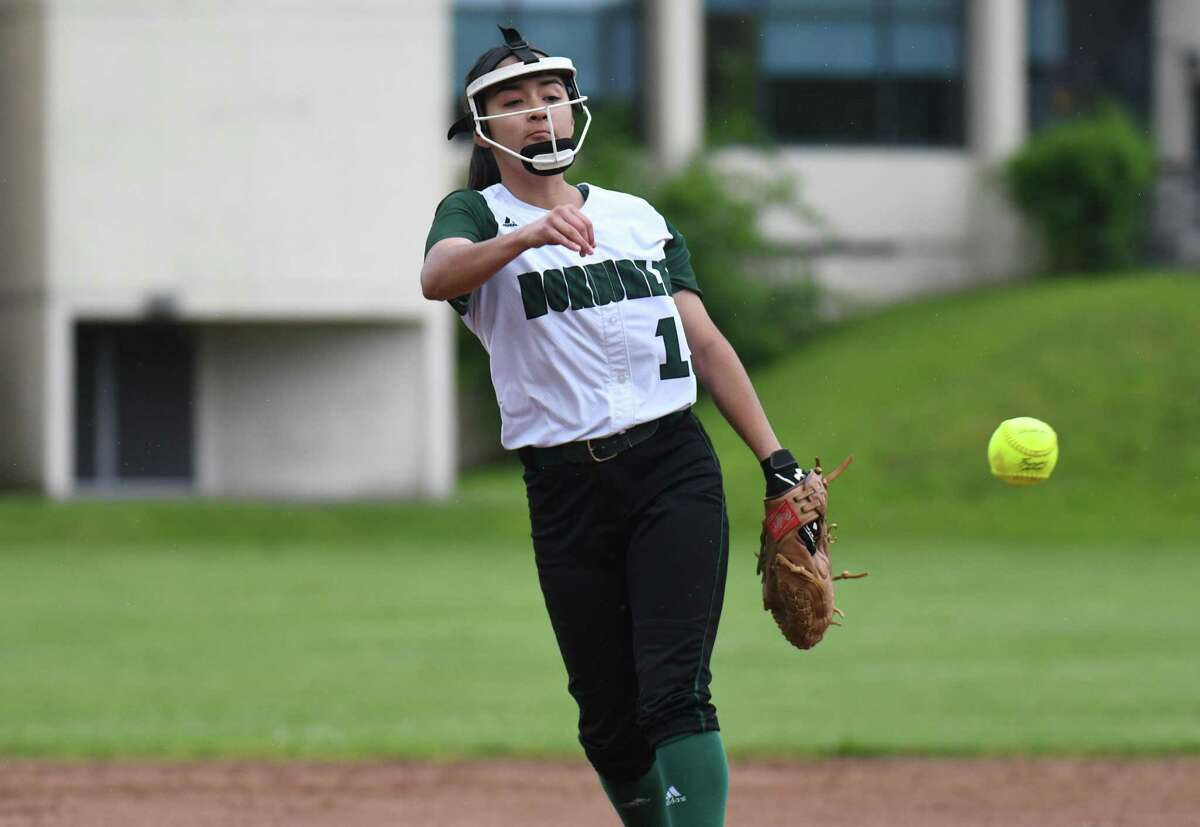 Brianny Garcia (19) of the Norwalk Bears releases a pitch during the first round of the CIAC Class LL Softball Tournament against the West Haven Blue Devils at Norwalk High School on May 30, 2017 in Norwalk, Connecticut.