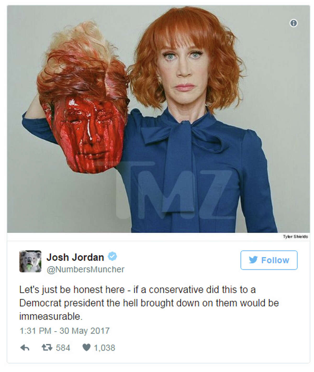 Kathy Griffin Trump photoWhat you'll need:Blue blouse, bloodied mask, and poor judgement. Source: http://www.mediaite.com/online/just-dont-twitter-goes-off-on-kathy-griffin-over-photoshoot-holding-severed-trump-head/