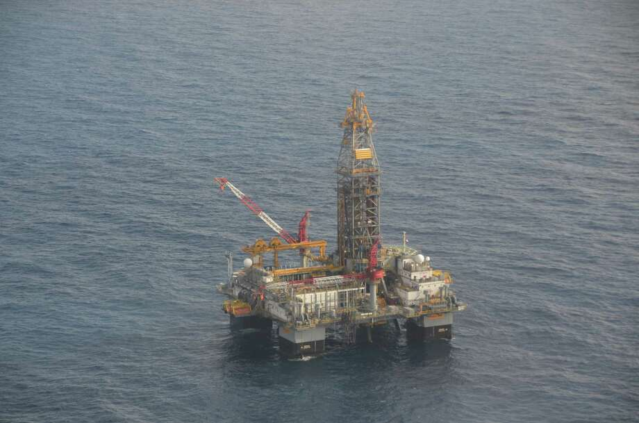 An aerial view of the Ensco 8502 drilling rig in the Gulf of Mexico, which is now drilling a delineation well for LLOG near its Marmalard prospect, about 6 miles from the site of BP's failed Macondo well. Photo: Jennifer A. Dlouhy