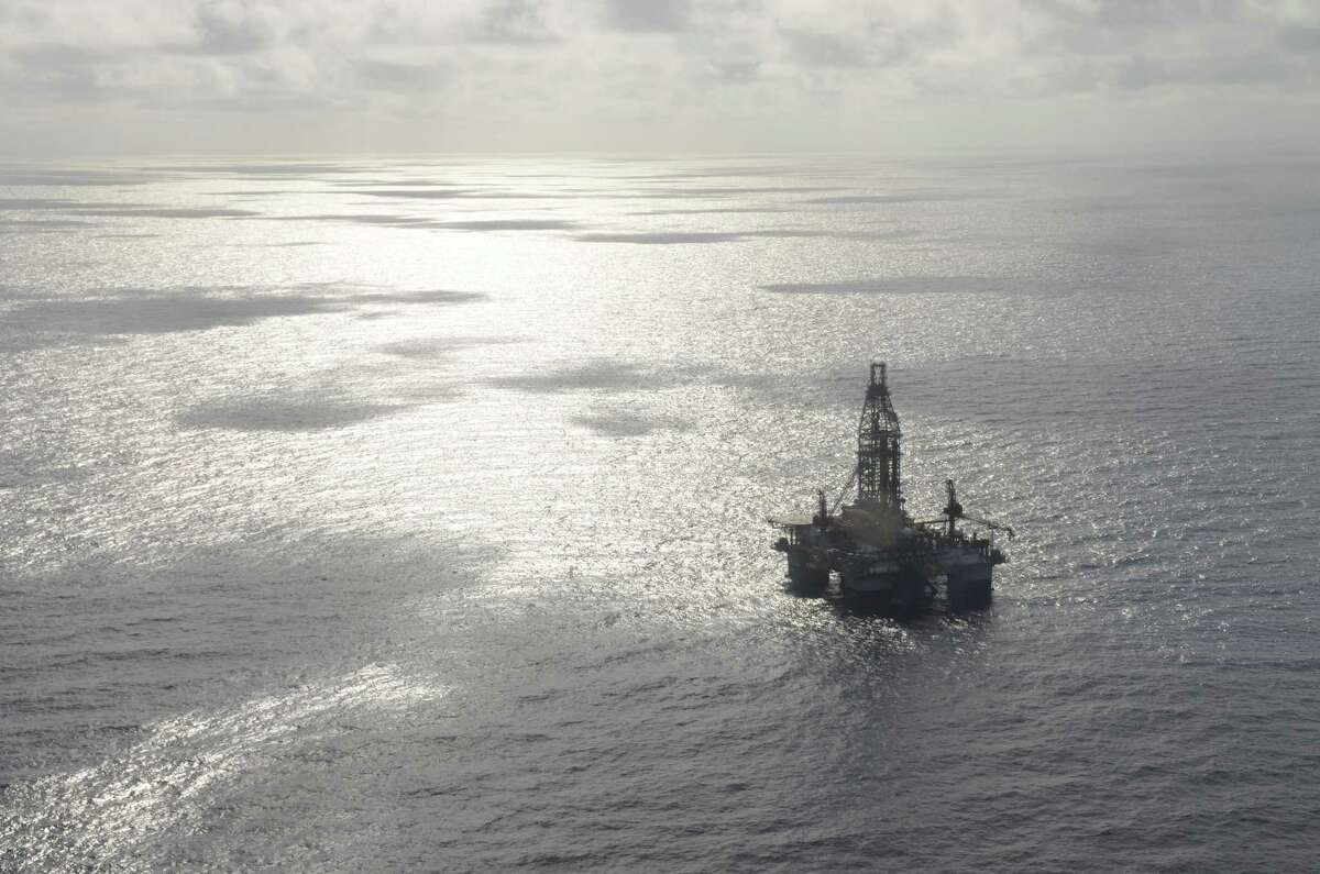 FILE - An undated aerial photograph of the Ensco 8502 drilling rig in the Gulf of Mexico. Tuesday, the White House announced it would be selling leases for some 77 million acres in the Gulf of Mexico for oil and gas drilling.