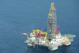 The Ensco 8501 semi-submersible rig is seen in the Gulf of Mexico, 70 miles southeast of Louisiana, where it is about to begin drilling a bypass well for Noble Energy. Obama administration officials toured the 2.5-year-old rig on Wednesday. Jennifer A. Dlouhy / Houston Chronicle
