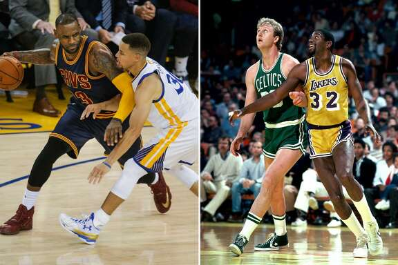 Warriors' Stephen Curry guards Cavaliers' LeBron James in Game 1 of the NBA Finals in 2016. (Carlos Gonzalez, The Chronicle) // Celtics' Larry Bird waits for a rebound against Lakers' Magic Johnson in 1986. (Getty Images)