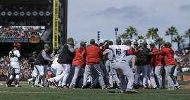 Washington Nationals and San Francisco Giants brawl in the eighth inning of a baseball game Monday, May 29, 2017, in San Francisco. (AP Photo/Ben Margot)