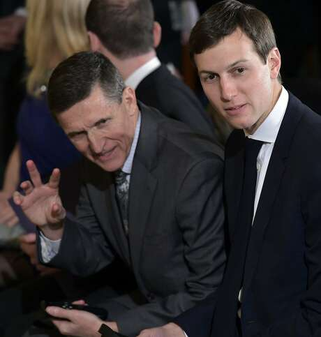 This file photo taken on February 13, 2017 shows then National Security Advisor Michael Flynn (L) and Jared Kushner, senior White House adviser, before a joint press conference between Canada's Prime Minister Justin Trudeau and US President Donald Trump in the East Room of the White House in Washington, DC. Photo: MANDEL NGAN, AFP/Getty Images