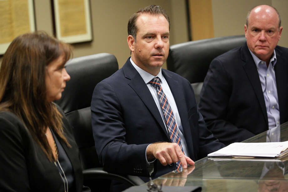 Joseph McMahan, Council for a Strong America's Texas State Director, speaks during a press conference on the home visitor program in Montgomery County on Tuesday, May 30, 2017, at the Alan B. Sadler Commissioners Court Building in Conroe. Photo: Michael Minasi, Staff Photographer / © 2017 Houston Chronicle