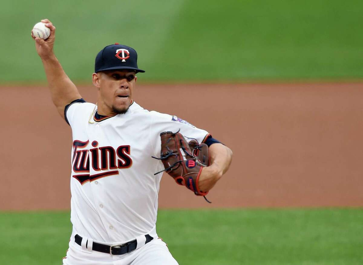 MINNEAPOLIS, MN - MAY 30: Jose Berrios #17 of the Minnesota Twins delivers a pitch against the Houston Astros during the first inning of the game on May 30, 2017 at Target Field in Minneapolis, Minnesota.