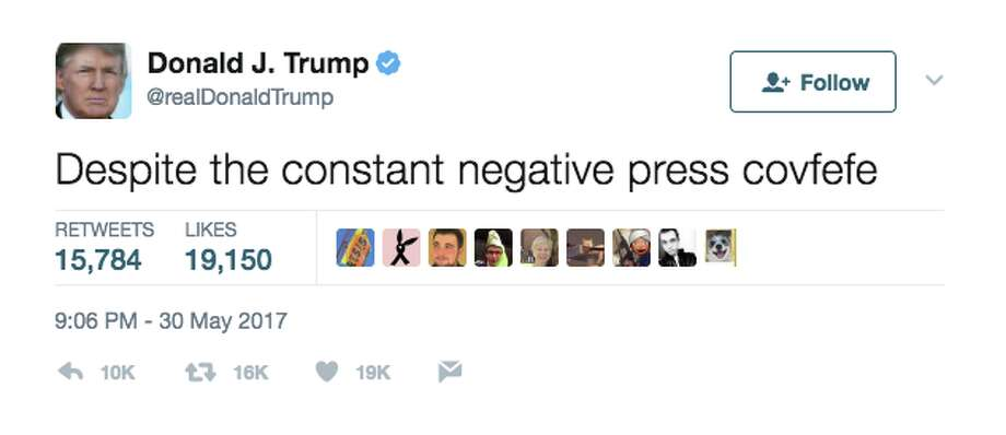 "President Trump's ""covfefe"" tweet sent Twitter into an uproar. Click the gallery for common words and phrases you're probably misusing.  Photo: @realDonaldTrump/Twitter"