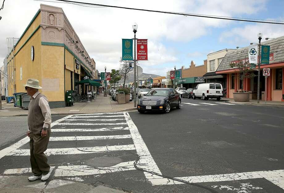 Street view of the five hundred block of San Mateo Avenue in San Bruno. Photo: Liz Hafalia, The Chronicle