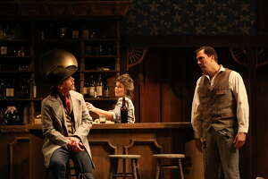 "Dwight Clark as Marshal Johnson, Bree Welch as Hallie Jackson, David Matranga as Ransome Foster in ""The Man Who Shot Liberty Valance"" at Stages Repertory Theatre"