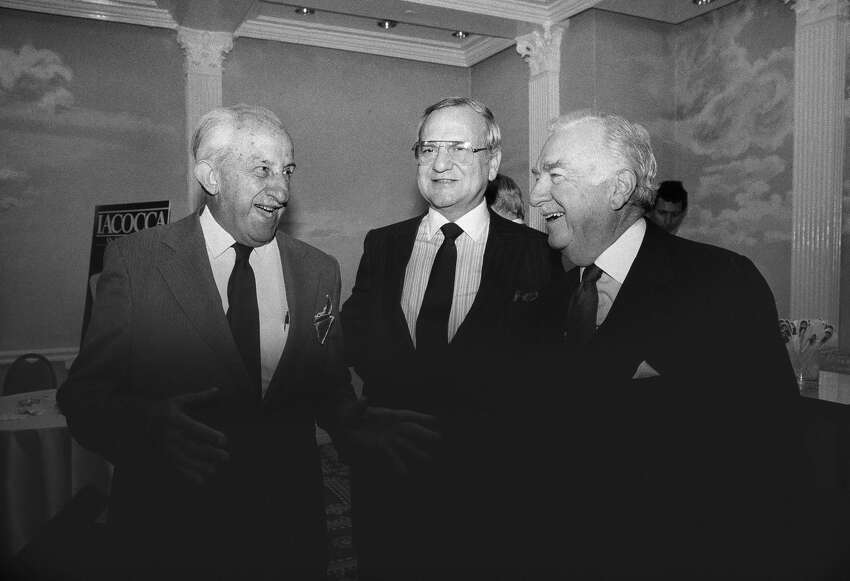 In 1929, Carvel started as an ice cream truck in Hartsdale, NY. Pictured: Chairman of the Board and Chief Executive officer Lee Iacocca, center, chats with newsman Walter Cronkite, right, and Tom Carvel, ice cream magnate, during a reception at Helsmley Palace in New York on Tuesday, Oct. 31, 1984, celebrating Iacoccas book