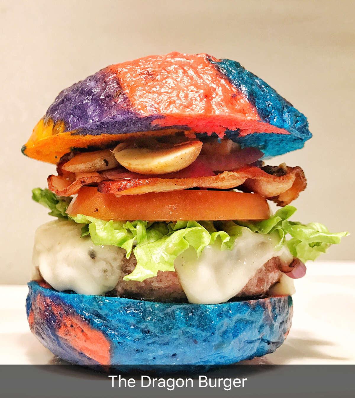 The Dragon Burger by chef Tatu Herrera of Tatu's Food Debauchery features a multi-colored pretzel bun, pickled mushrooms and chicharron aioli. Courtesy of Tatu Herrera