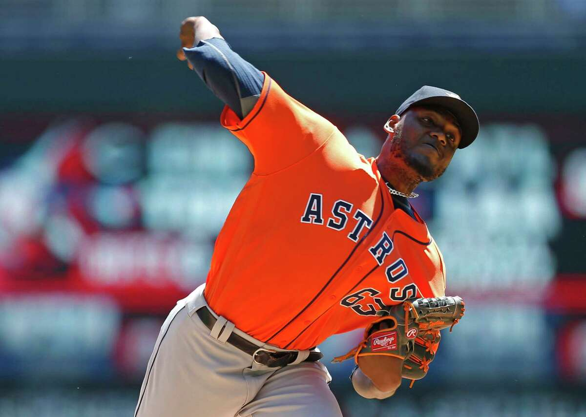 Houston Astros pitcher David Paulino throws against the Minnesota Twins in the first inning of a baseball game Wednesday, May 31, 2017, in Minneapolis. (AP Photo/Jim Mone)