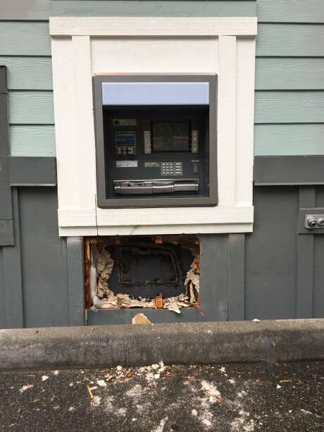 Would-be thieves set fire to an ATM they were attempting to rob Tuesday morning in Everett. Photo: Everett Police