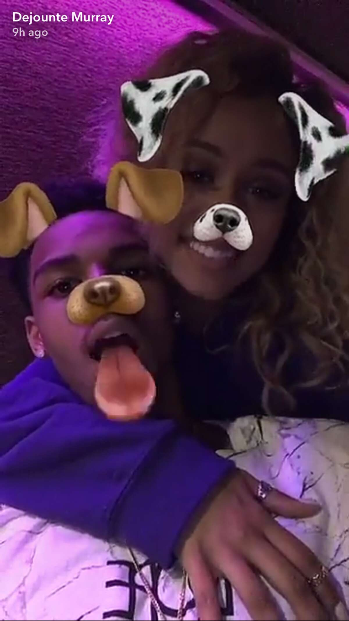 """Screenshots of Snapchat stories posted by Dejounte Murray to his """"story,"""" on May 30, 2017."""