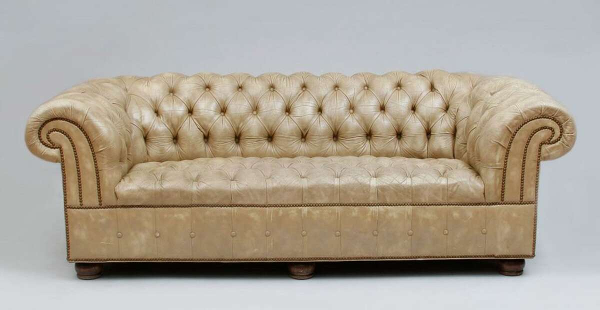 Legendary Rolling Stones guitarist Keith Richrads and his wife, Patti Hansen, are donating items from their upper East Side Manhattan apartment to benefit Ridgefield, Conn. nonprofits, to SPHERE of CT and Prospector Theater in Ridgefield, Conn., for the work they do with adults who have autism. This English tufted leather Chesterfield sofa is said to be a favorite piece.
