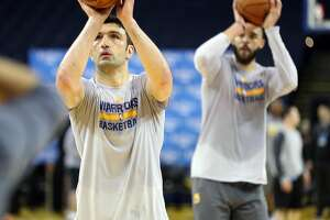 Golden State Warriors' Zaza Pachulia and JaVale McGee during NBA Finals Media Day at Oracle Arena in Oakland, Calif., on Wednesday, May 31, 2017.