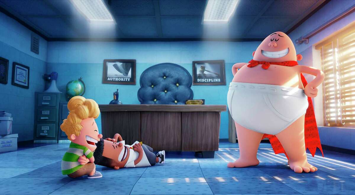 """This image released by DreamWorks Animation shows, from left, Harold, voiced by Thomas Middleditch, George, voiced by Kevin Hart and Captain Underpants, voiced by Ed Helms, in a scene from """"Captain Underpants: The First Epic Movie."""" (DreamWorks Animation via AP) ORG XMIT: NYET132"""