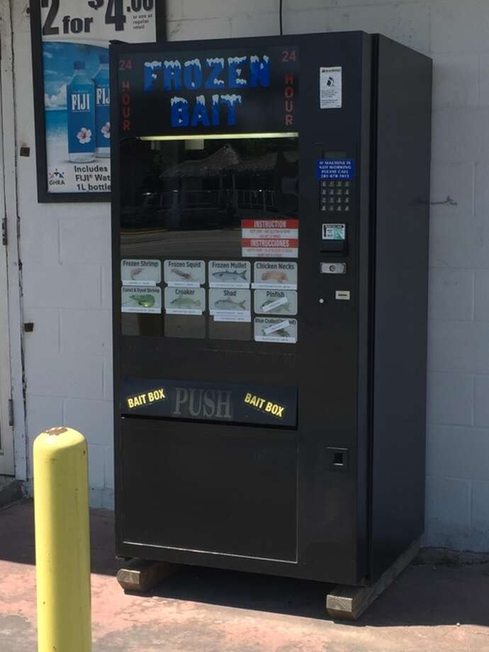 Naturally bay city San Leon has a gas station that has a fishing bait vending machine outside for easy access. A Reddit user posted this photo locating it at 902 E. Bayshore Drive on May 30, 2017. Photo: Reddit User, Gary