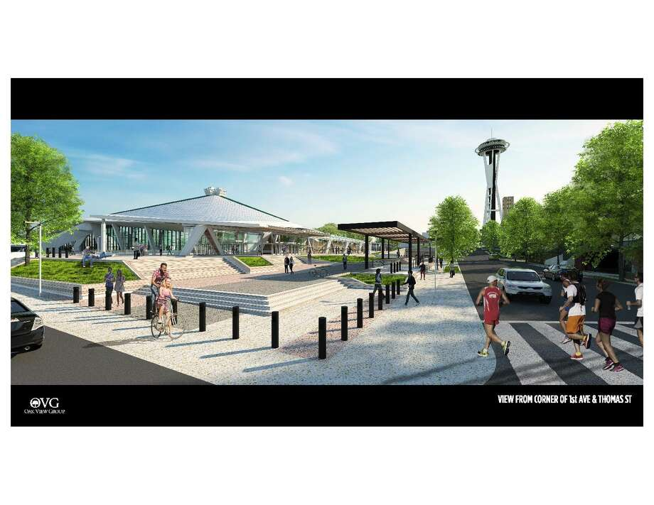 Rendering of the redesigned pedestrian plaza outside Oak View Group's proposed New Arena at Seattle Center. Photo: Oak View Group