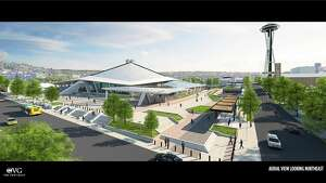 Rendering of the redesigned pedestrian plaza outside Oak View Group's proposed New Arena at Seattle Center.