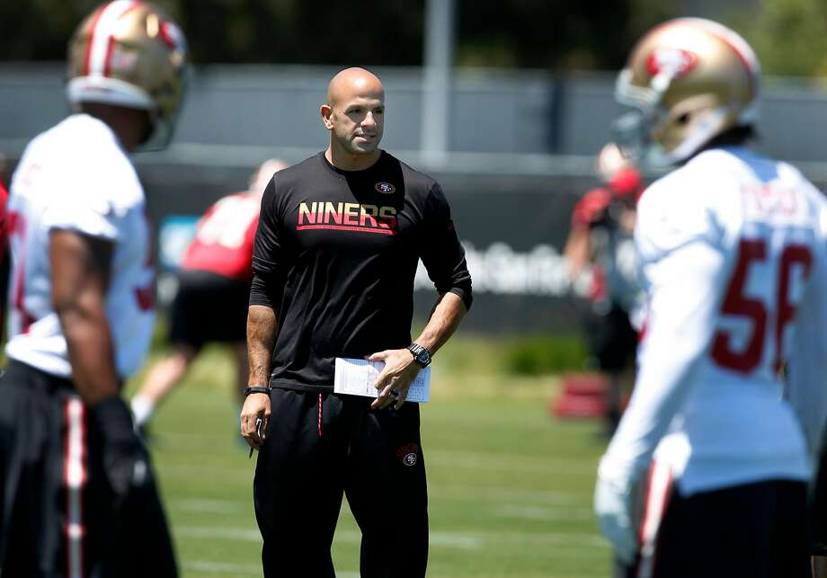 Defensive Coordinator Robert Saleh supervises a drill for the linebackers during a San Francisco 49ers team practice in Santa Clara, Calif. on Wednesday, May 31, 2017. Photo: Paul Chinn, The Chronicle