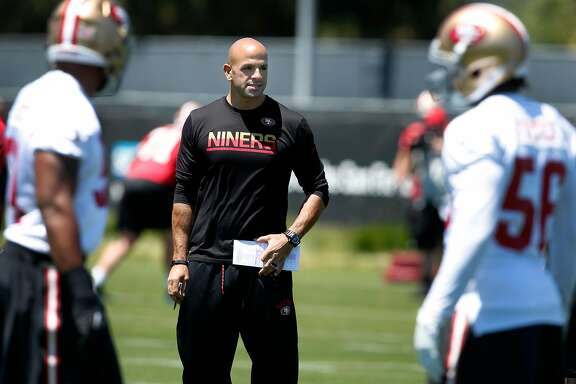 Defensive Coordinator Robert Saleh supervises a drill for the linebackers during a San Francisco 49ers team practice in Santa Clara, Calif. on Wednesday, May 31, 2017.