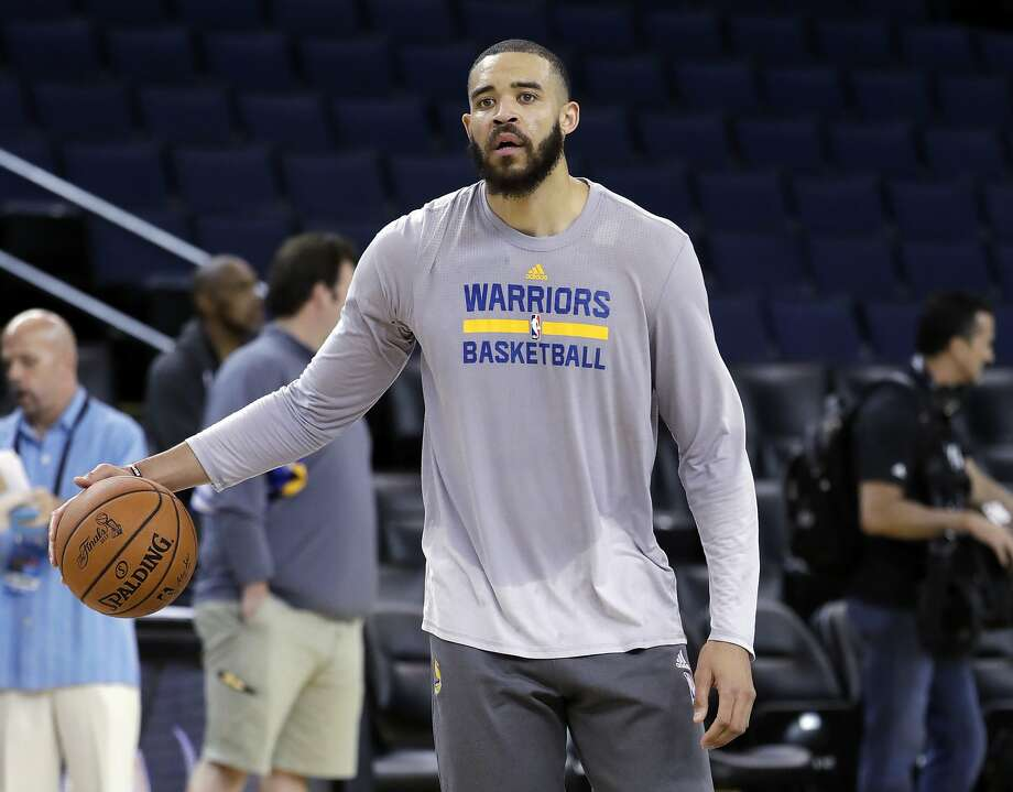 5e1b0a50029 Golden State Warriors  JaVale McGee dribbles during an NBA basketball  practice