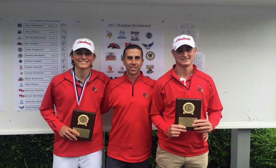 The Greenwich High School boys golf team swept the FCIAC postseason awards. From left to right, Jackson Fretty, the 2017 FCIAC MVP, Jeff Santilli the FCIAC Coach Of The Year and Jake Moses, the Coaches Award co-winner. The coaches award is given to player who exemplifies best qualities of sportsmanship, leadership and integrity in the name of the game of golf. Photo: Contributed Photo / Greenwich Time Contributed