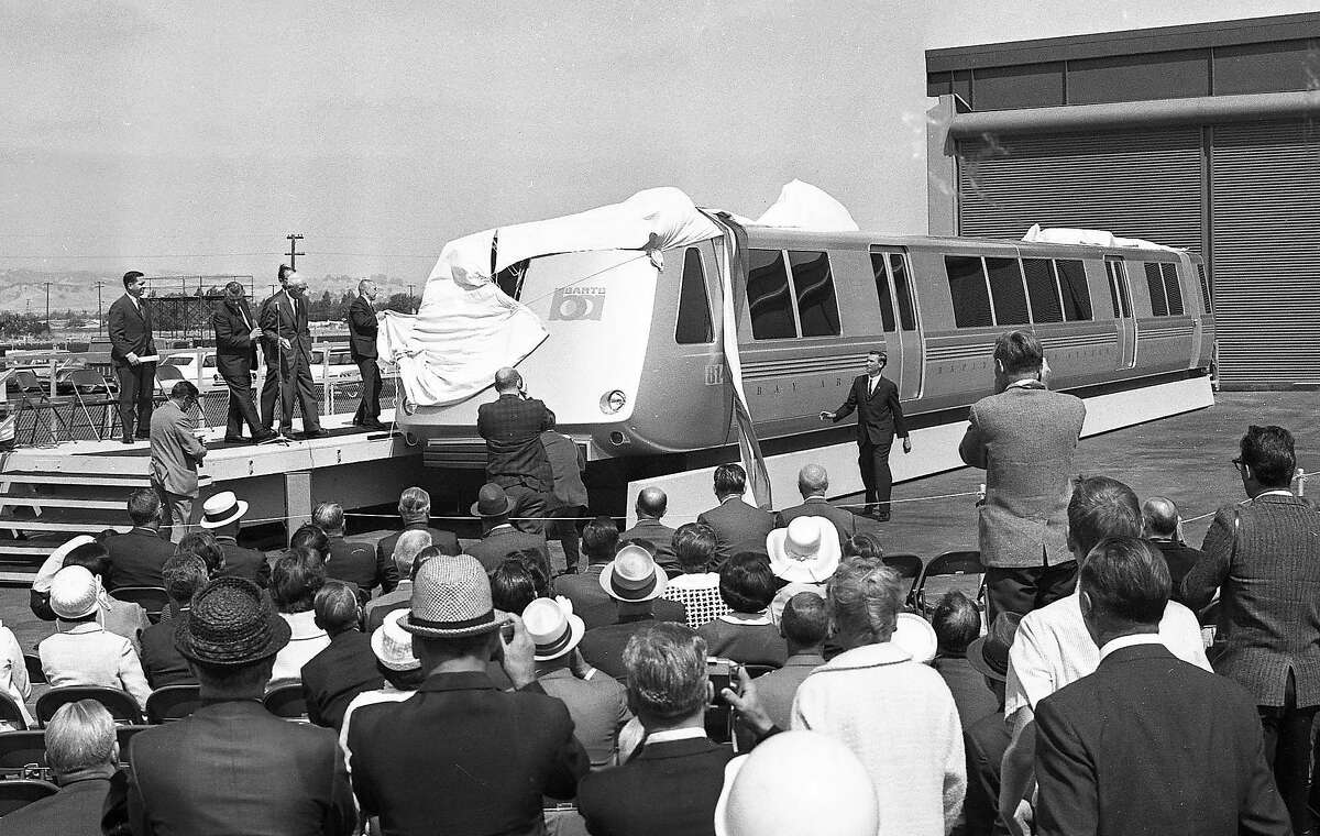 Bay Area Rapid Transit officials unveil BART's first model car, which toured around the Bay Area in 1965. Those railcars, with their classic slanted nose design, are being phased out.