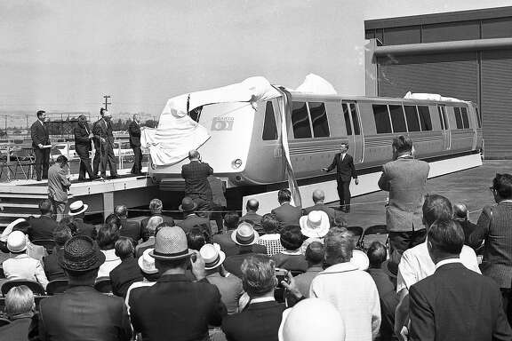 June 22, 1965: Bay Area Rapid Transit officials unveil BART's first model car - which toured around the Bay Area in 1965.