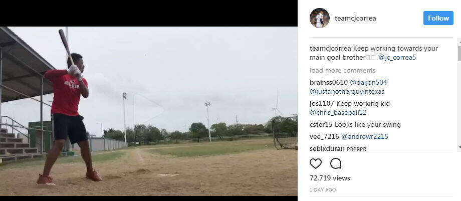 JC Correa crushes baseball in Instagram video.>>Check out other celebrity Latino siblings here...