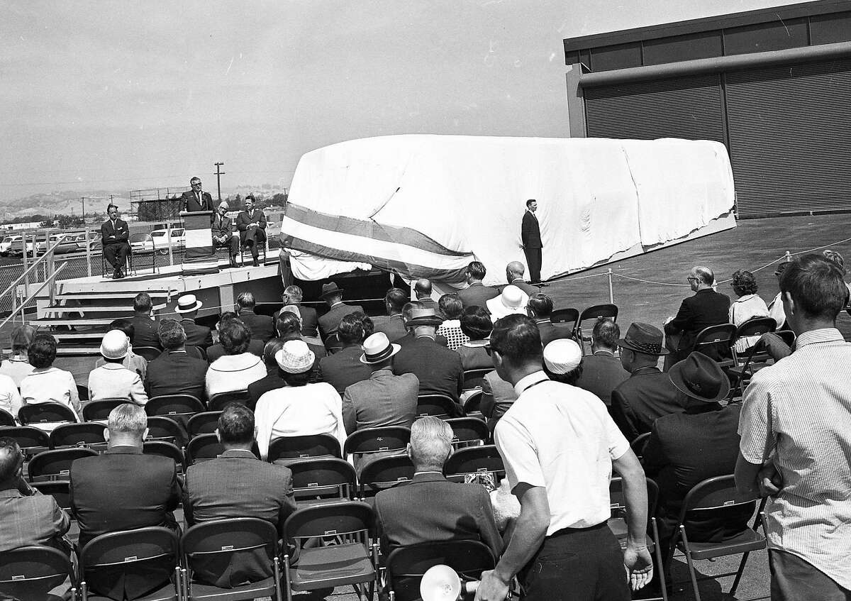 Bay Area Rapid Transit officials unveil BART's first model car on June 22, 1965.