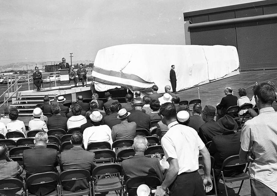June 22, 1965: Bay Area Rapid Transit officials unveil BART's first model car. Photo: Bill Young, The Chronicle