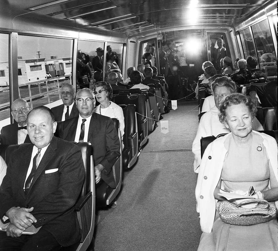 BART officials, reporters and luminaries sit in the first BART car, seven years before service began. Photo: Bill Young, The Chronicle