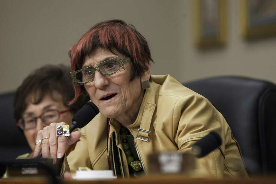 Rep. Rosa DeLauro, D-Conn., questions Betsy DeVos, U.S. secretary of education during a House Appropriations Labor-HHS-Education Subcommittee in Washington, D.C., U.S., on Wednesday, May 24, 2017. Photo: Zach Gibson / Bloomberg / © 2017 Bloomberg Finance LP