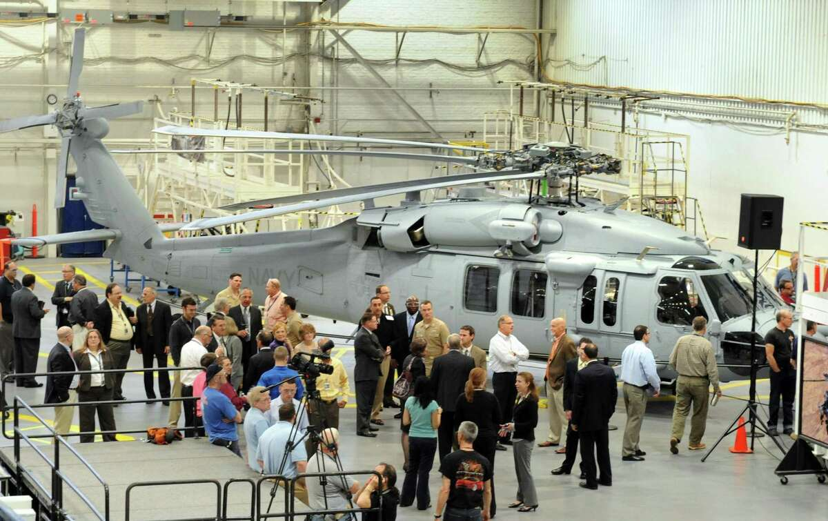 Sikorsky Aircraft and the U.S. Navy with a MH-60R Seahawk helicopter in Stratford, Conn.