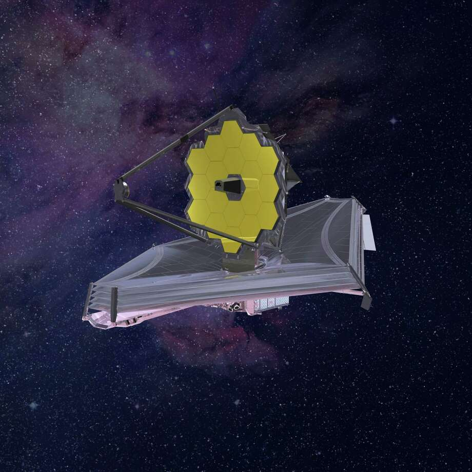 An artist's illustration of the James Webb Space Telescope. The kite-shaped object beneath the telescope's gold-plated mirror is a sunshield to protect the Webb's instruments. MUST CREDIT: Northrop Grumman handout illustration Photo: Northrop Grumman, Handout / Handout