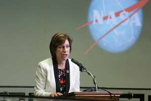 Johnson Space Center Director Dr. Ellen Ochoa speaks to the media before NASA engineers prepare to test the James Webb Space Telescope, a telescope with a primary mirror 6.25 times bigger than the Hubble Space Telescope, in a cryogenic vacuum chamber at the Johnson Space Center Wednesday, May 31, 2017 in Houston.